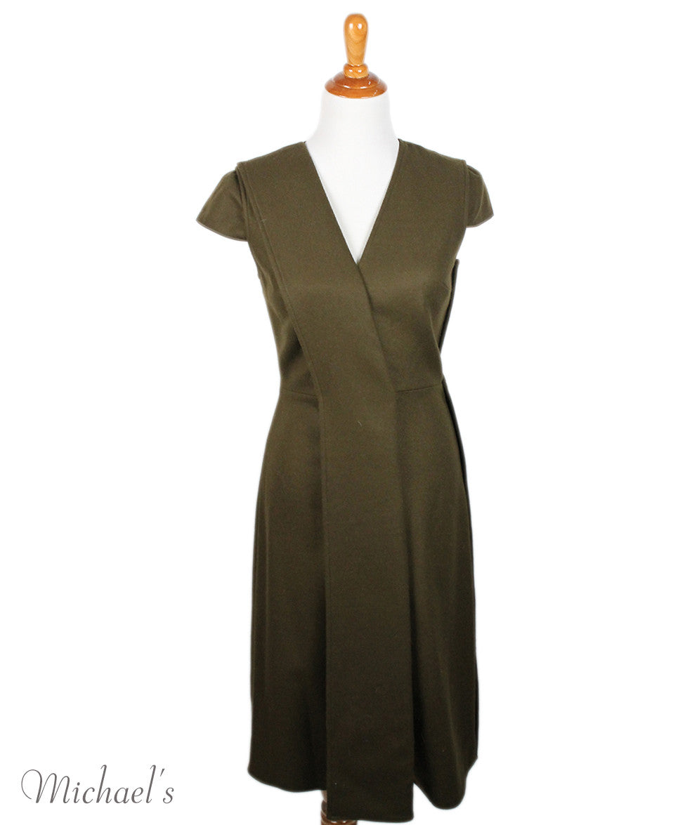 Jason Wu Olive Wool Black W/ Belt and Fox Collar Dress Sz 6 - Michael's Consignment NYC  - 6