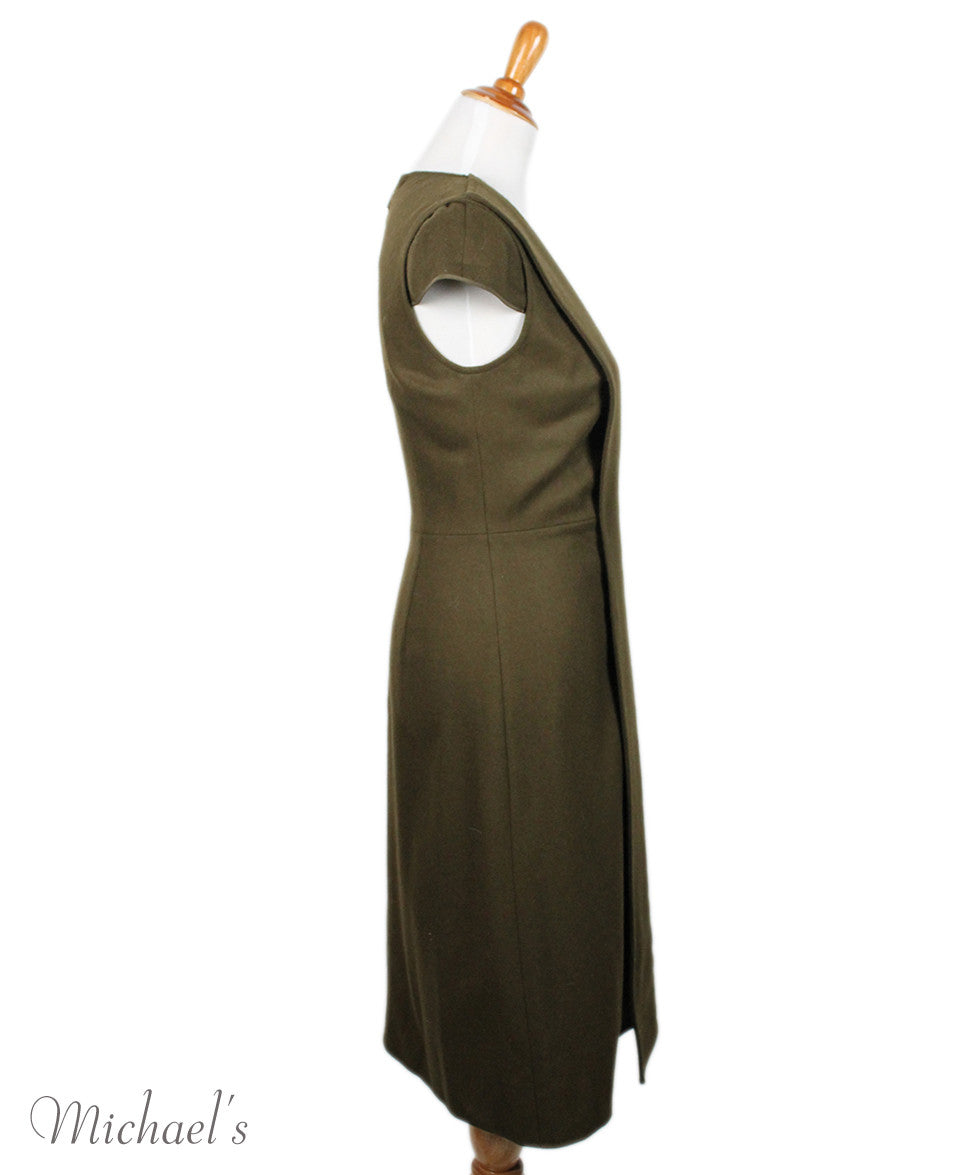 Jason Wu Olive Wool Black W/ Belt and Fox Collar Dress Sz 6 - Michael's Consignment NYC  - 7