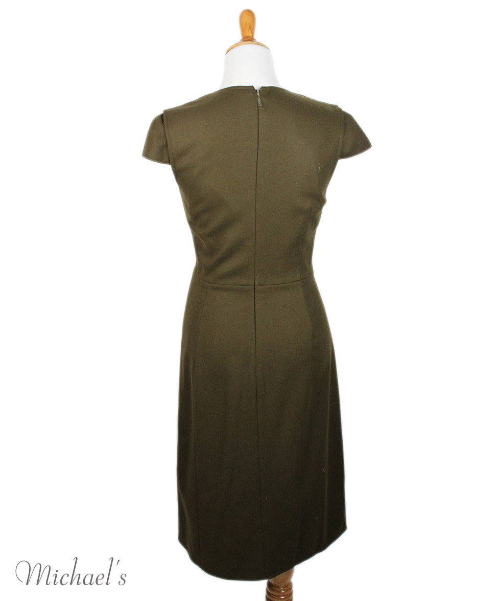 Jason Wu Olive Wool Black W/ Belt and Fox Collar Dress Sz 6 - Michael's Consignment NYC  - 8