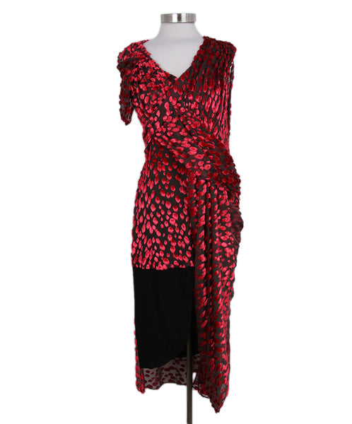 Jason Wu Red Black Silk Velvet Dress 1