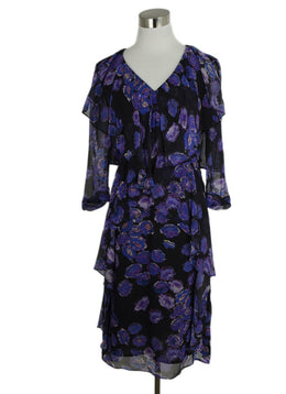 Jason Wu Purple Black Silk Floral Print Dress 1