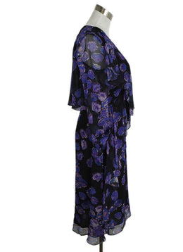 Jason Wu Purple Black Silk Floral Print Dress 2