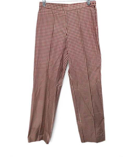 Jean Paul Gaultier Red White Gingham Print Silk Pants 2