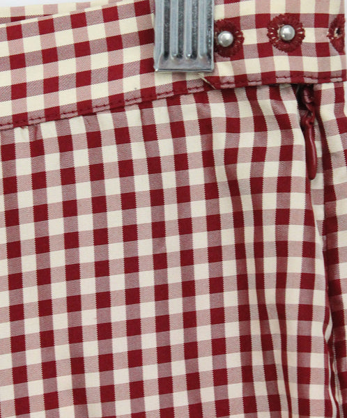 Jean Paul Gaultier Red White Gingham Print Silk Pants 4