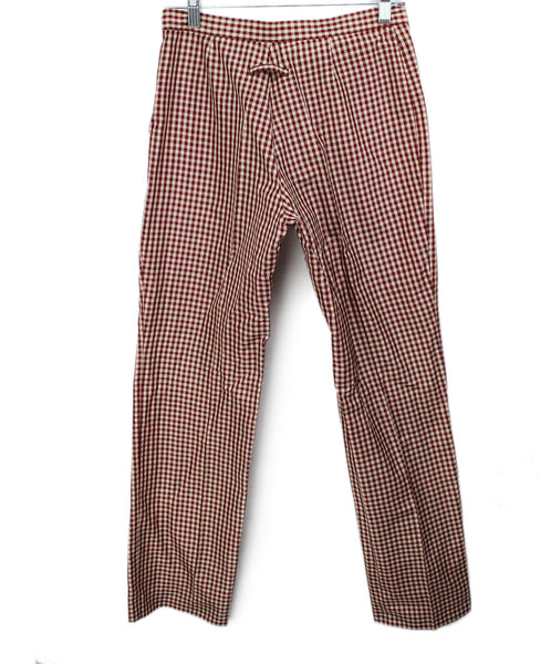 Jean Paul Gaultier Red White Gingham Print Silk Pants 1