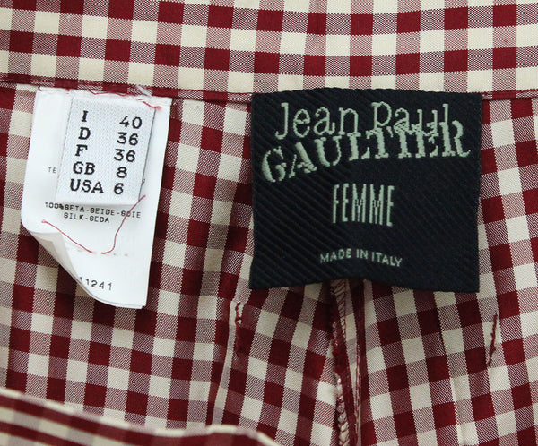Jean Paul Gaultier Red White Gingham Print Silk Pants 3