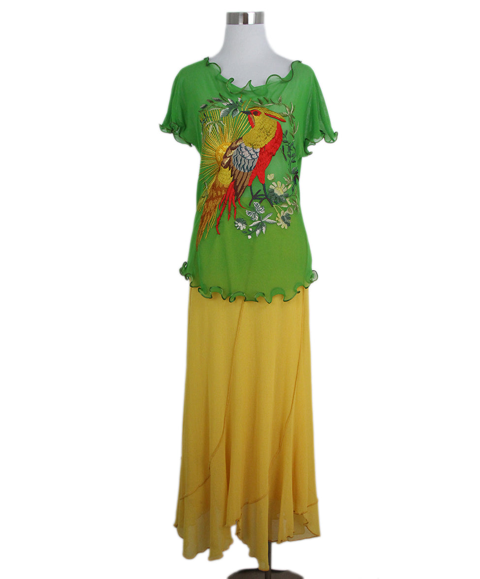 Jean Paul Gautier green yellow two piece skirt set 1