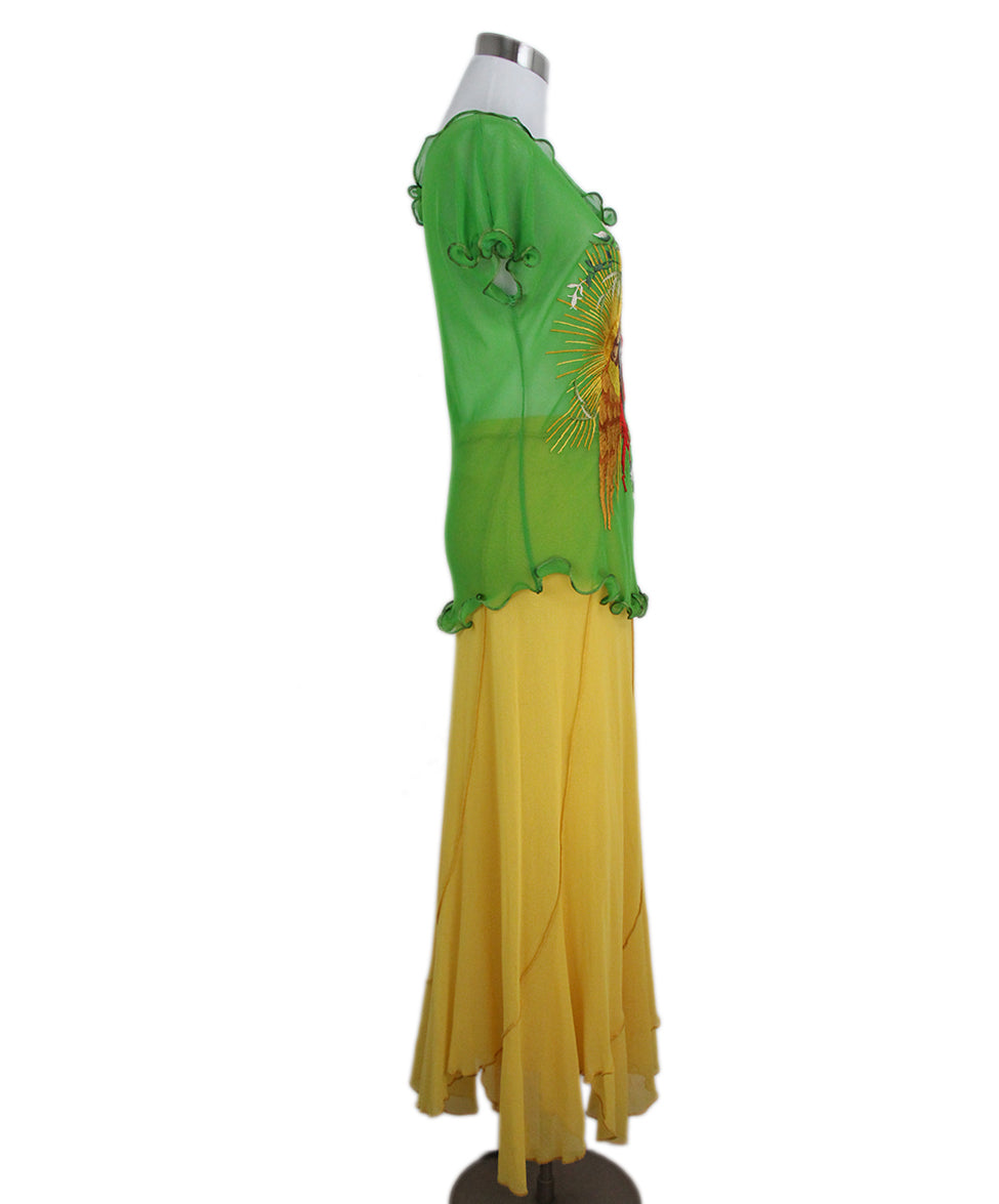 Jean Paul Gautier green yellow two piece skirt set 2