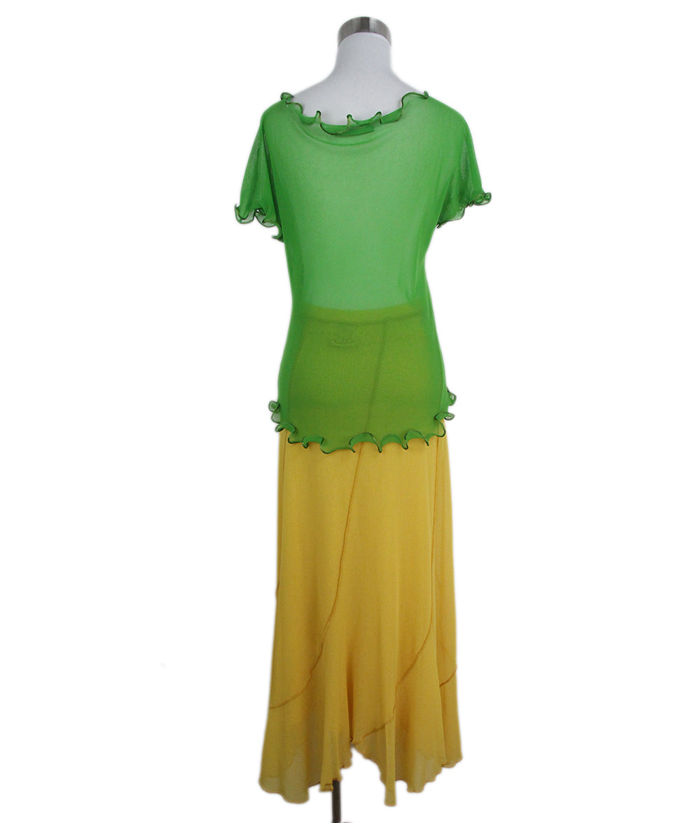 Jean Paul Gautier green yellow two piece skirt set 3