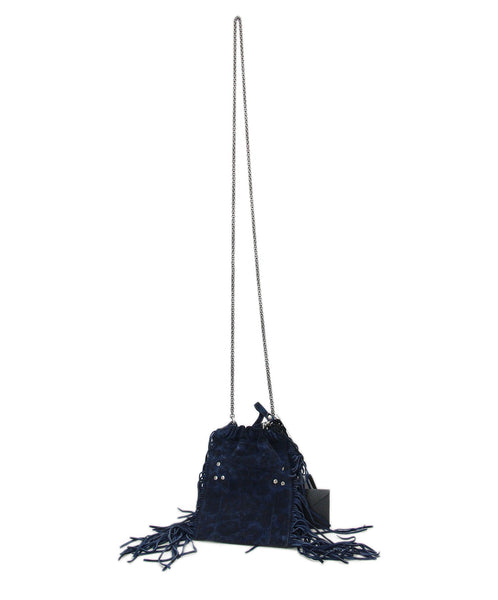 Jerome Dreyfuss Navy Suede Fringe Crossbody 1