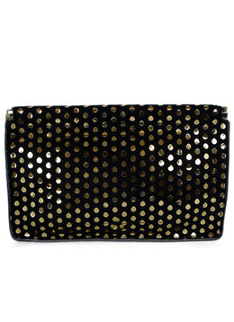 Jerome Dreyfuss Black Suede Gold Polka Dot Clutch Handbag 1