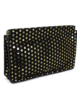 Jerome Dreyfuss Black Suede Gold Polka Dot Clutch Handbag 2