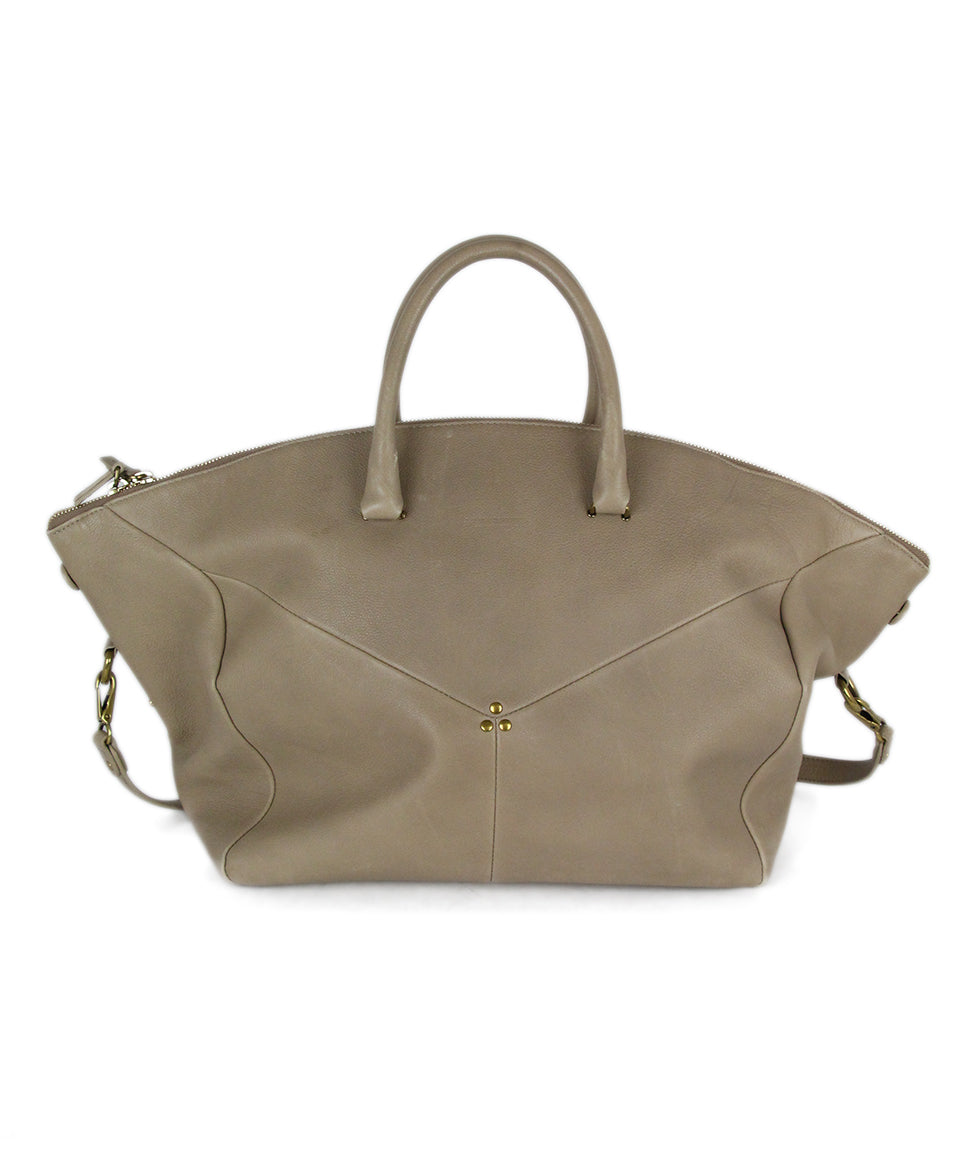 Jerome Dreyfuss Neutral Tan Leather Satchel  Handbag 1
