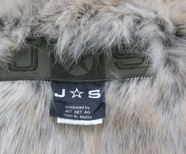 Jacket Jet Set Size 4 Green Olive Nylon Fur Lining Fur Outerwear
