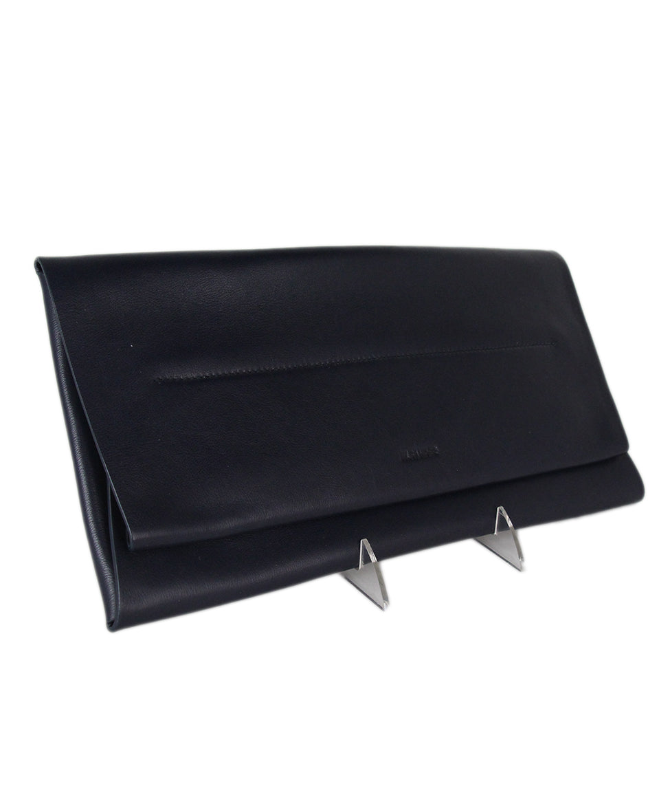 Jil Sander Navy leather clutch 2