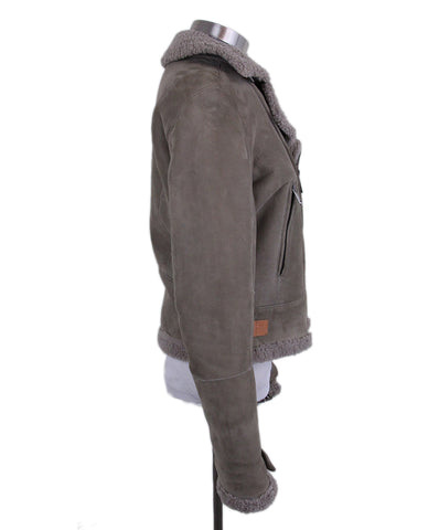 Jil Sander Taupe Shearling Coat Short 1
