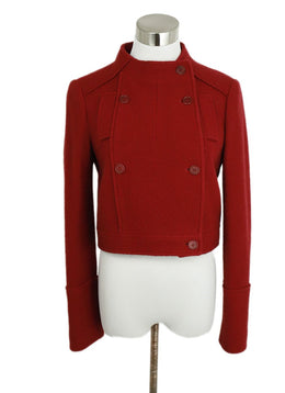 Jil Sander Red Wool Cropped Jacket 1