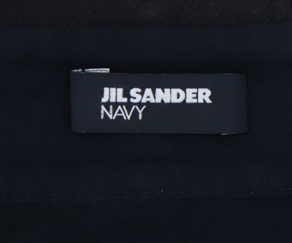 Jil Sander Navy Sleeveless Blouse with Black Beaded Detail on Neck 4