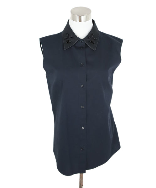 Jil Sander Navy Sleeveless Blouse with Black Beaded Detail on Neck 1