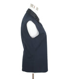 Jil Sander Navy Sleeveless Blouse with Black Beaded Detail on Neck 2