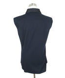 Jil Sander Navy Sleeveless Blouse with Black Beaded Detail on Neck 3