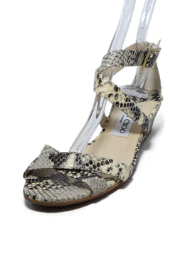 Jimmy Choo Neutral Beige Brown Python Sandals 1