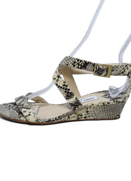 Jimmy Choo Neutral Beige Brown Python Sandals 2