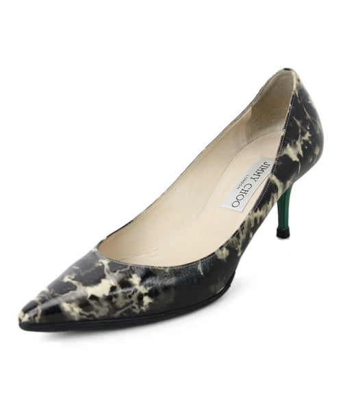 Jimmy Choo Black Cream Marble with Green Heels 1
