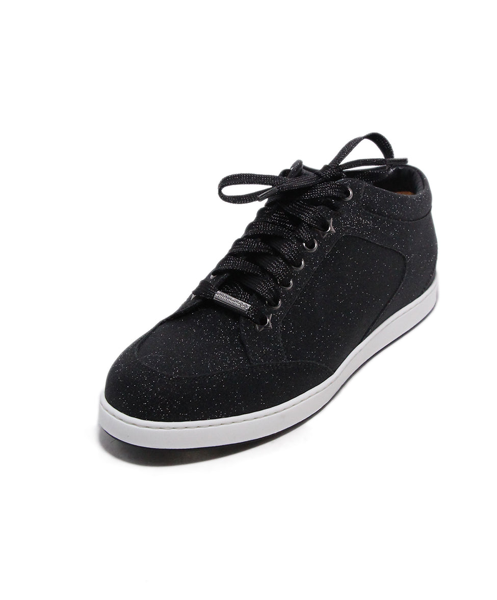 Jimmy Choo Sneakers Us 8 Black Glitter Lace Up Shoes Michael S