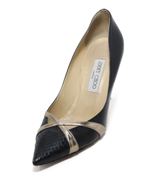 Jimmy Choo Black Gold Leather Python Trim Heels 1