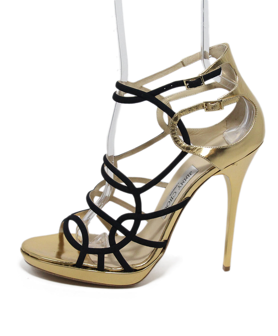 1e818684880 Jimmy Choo US 11 Black Gold Leather Shoes - Michael s Consignment NYC