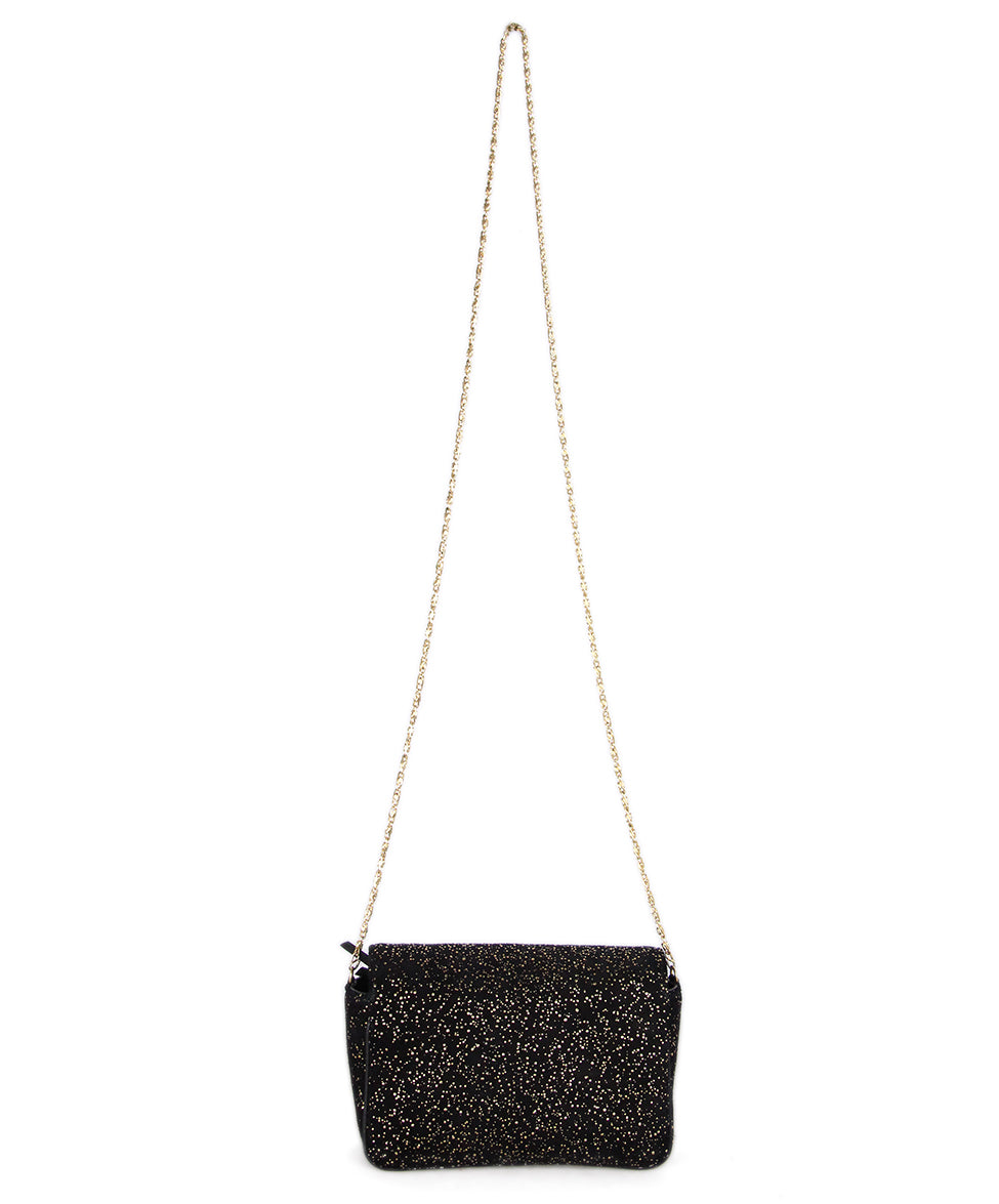 Jimmy Choo Black Gold Suede Shoulder Bag 3