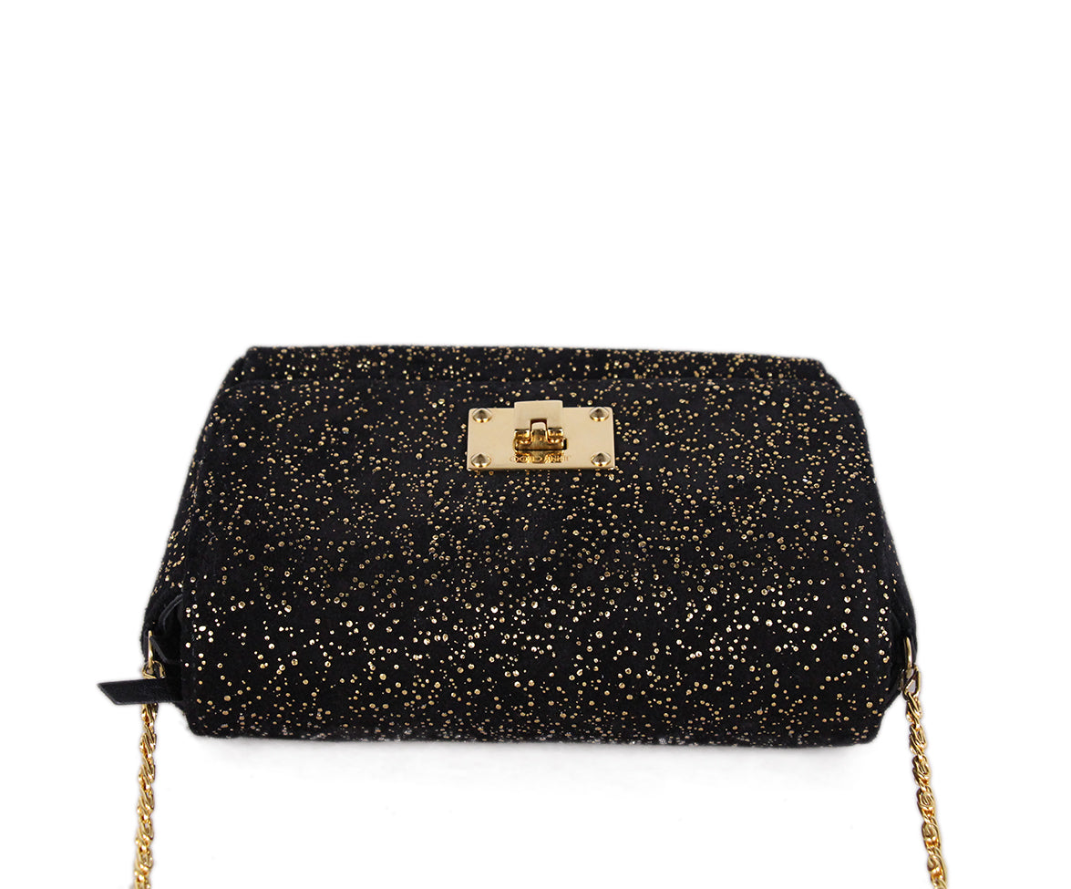 Jimmy Choo Black Gold Suede Shoulder Bag 5