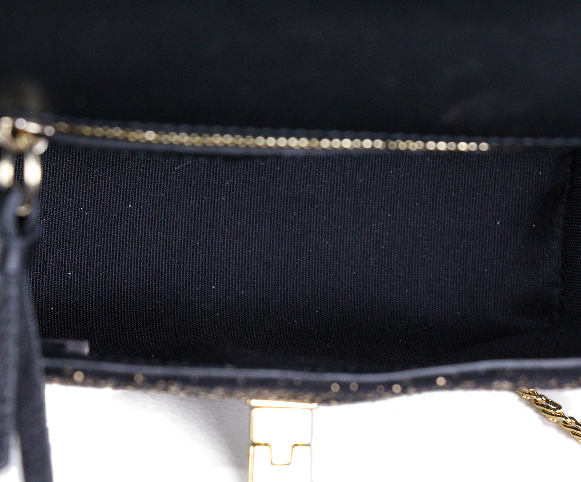 Jimmy Choo Black Gold Suede Shoulder Bag 6