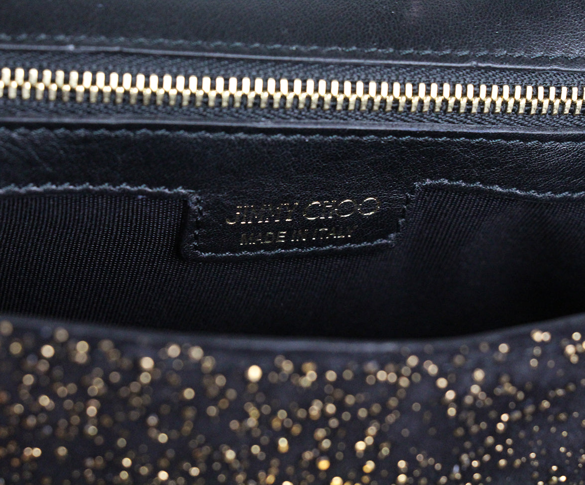 Jimmy Choo Black Gold Suede Shoulder Bag 7