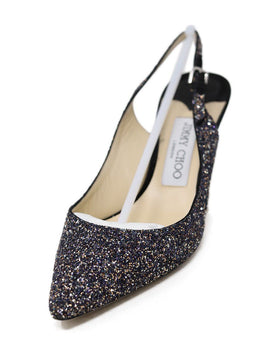Jimmy Choo Black Silver Gold Glitter Sling Backs Shoes 1