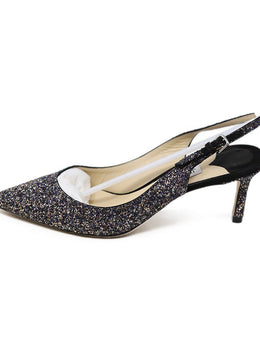 Jimmy Choo Black Silver Gold Glitter Sling Backs Shoes 2