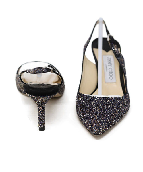 Jimmy Choo Black Silver Gold Glitter Sling Backs Shoes 3