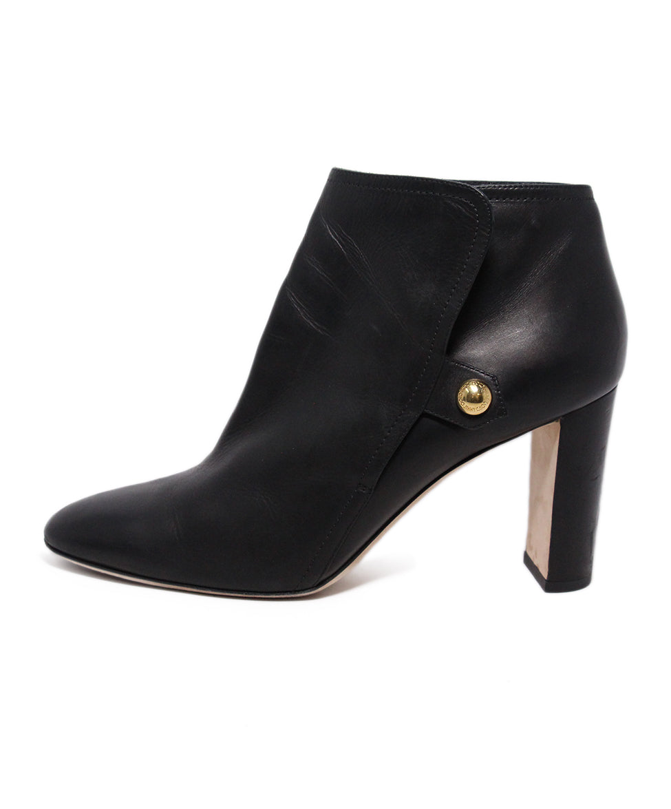 Jimmy Choo Black Leather Button Booties 2