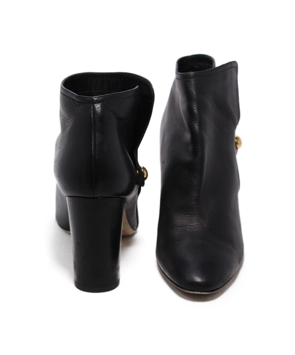 Jimmy Choo Black Leather Button Booties 3
