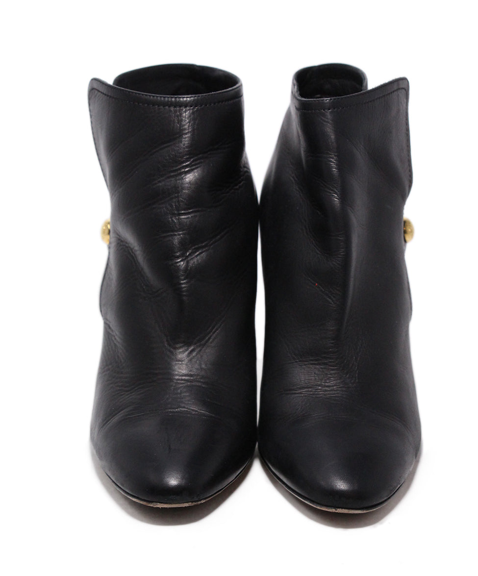Jimmy Choo Black Leather Button Booties 4