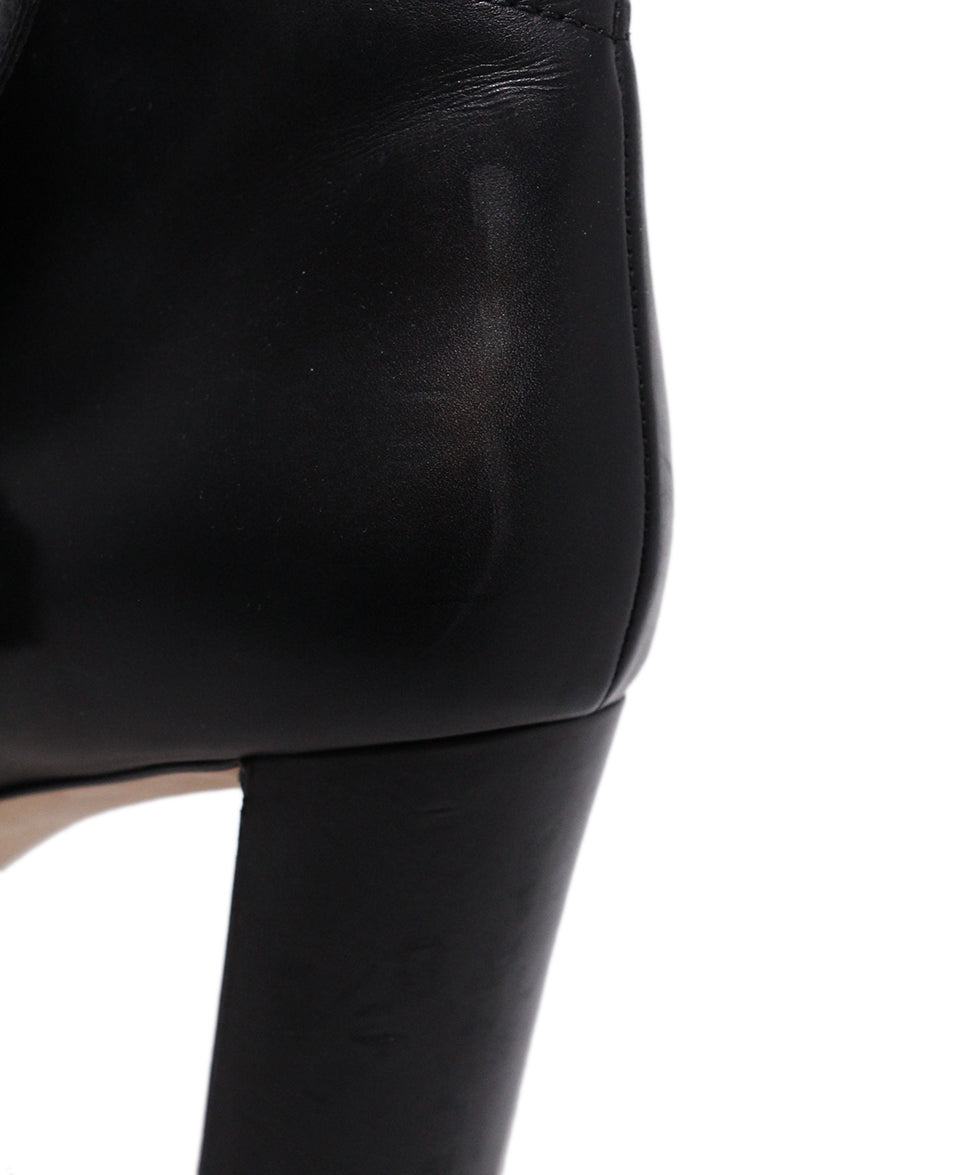 Jimmy Choo Black Leather Button Booties 8
