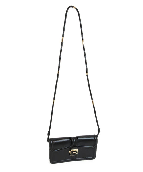 Jimmy Choo Black Leather Crossbody with Gold Metal Accents 1