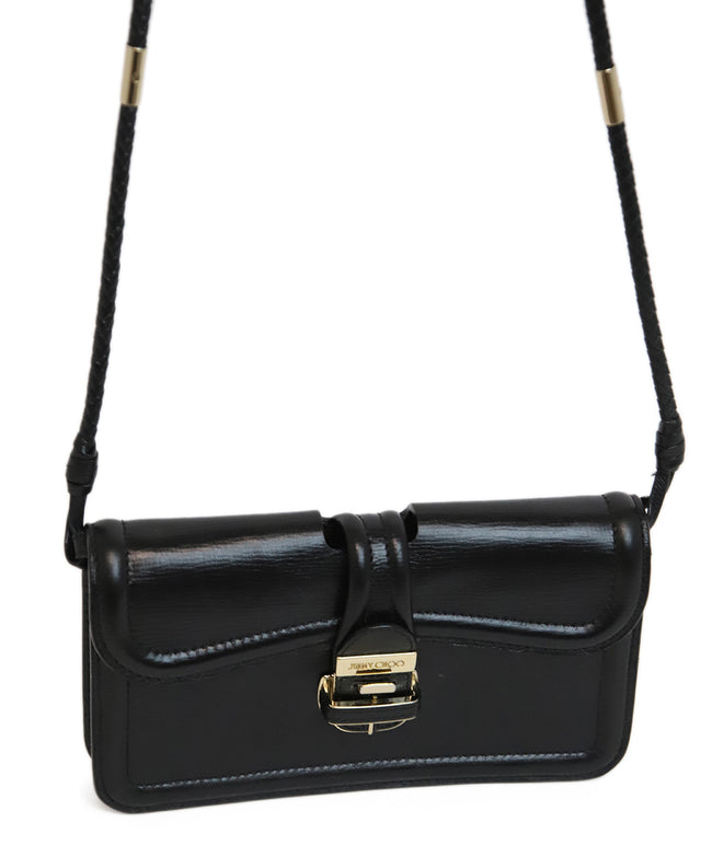 Jimmy Choo Black Leather Crossbody with Gold Metal Accents 2