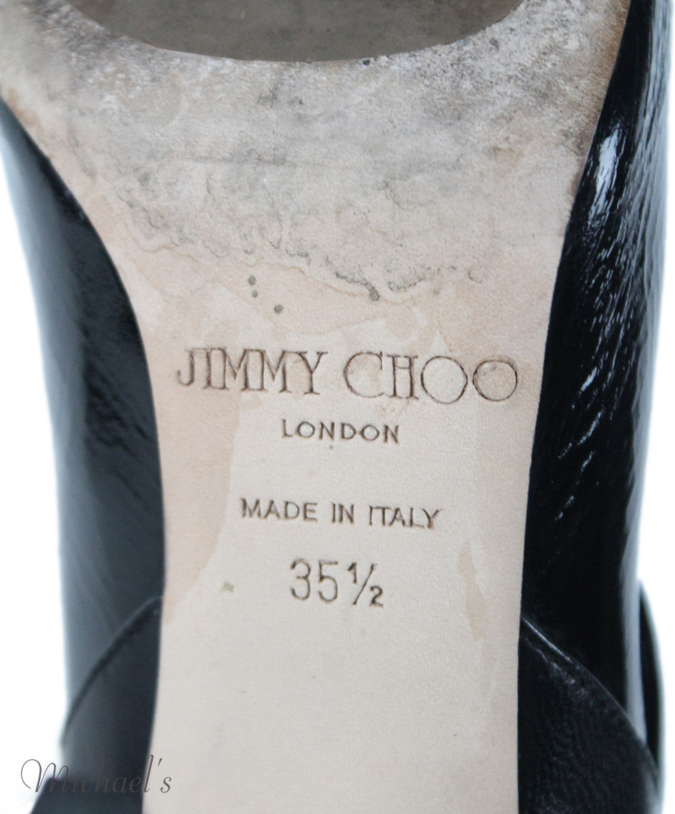 Jimmy Choo US 5.5 Black Leather Patent Trim Booties