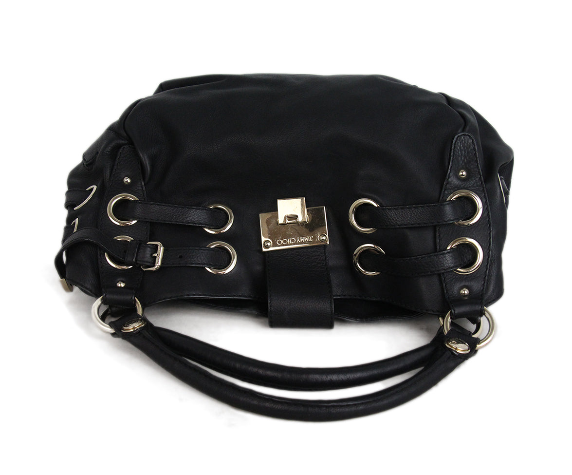 Jimmy Choo Black Leather Shoulder Bag 5