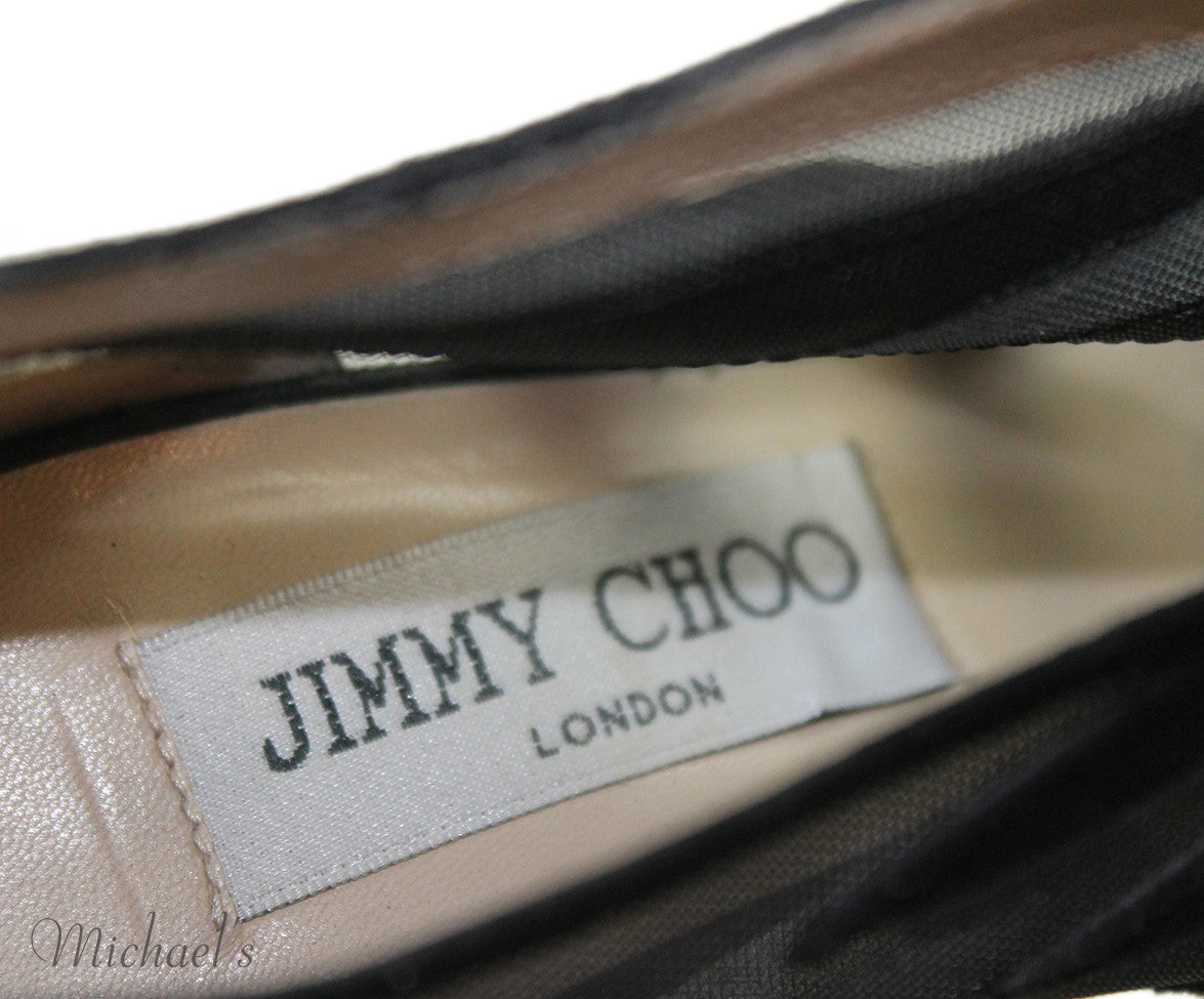 Jimmy Choo Heels US 5.5 Black Mesh Suede Shoes - Michael's Consignment NYC  - 6