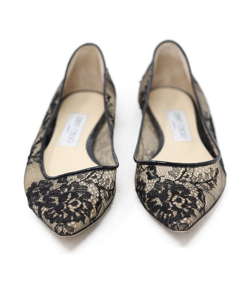 Jimmy Choo Black Nylon Lace Flats 2