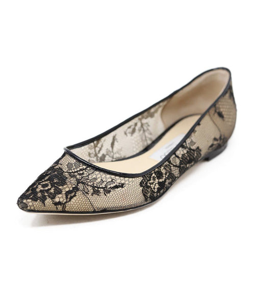 Jimmy Choo Black Nylon Lace Flats