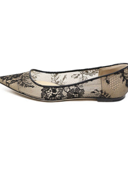 Jimmy Choo Black Nylon Lace Flats 1
